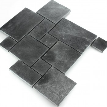 Mosaic Tiles Slate Black Roman Pattern