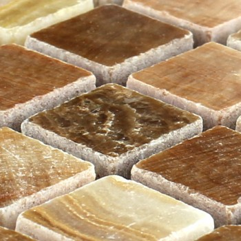 Mosaic Tiles Marble Brown Polished 15x15x7mm