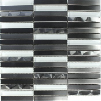 Mosaic Tiles Glass Stainless Steel White Silver Sticks