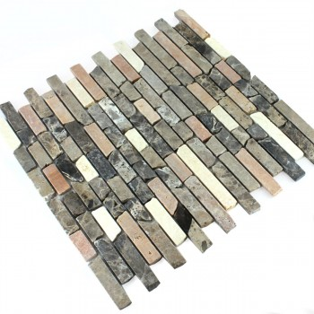 Mosaic Tiles Marble Brown Mix