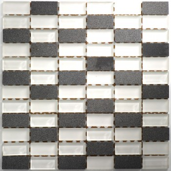 Mosaic Tiles Glass Marble 23x48x8mm White Mix
