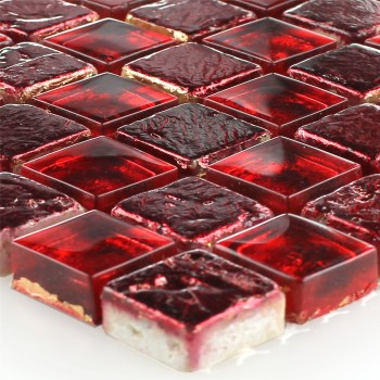 Mosaic Tiles Glass Natural Stone Fire Red