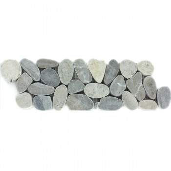 River Pebbles Border 10x30cm Light Grey Pebbles