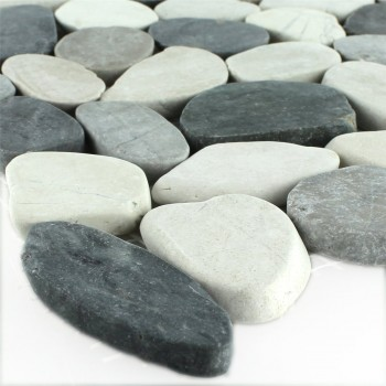 Mosaic Tiles River Pebbles Serrated Creme Anthracite