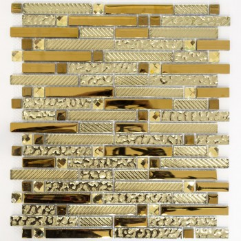 Mosaic Tiles Glass Structured Mix Gold 15x62x8mm