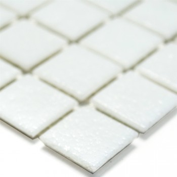 Glass Mosaic Tiles White Uni 20x20x4mm