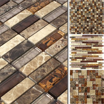 Mosaic Tiles Glass Marble Lambada Brown Beige
