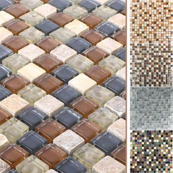 Glass Mosaic Natural Stone Tiles Festus Fluted