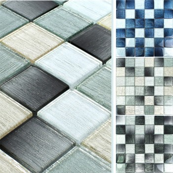 Glass Mosaic Tiles Bellevue Striped