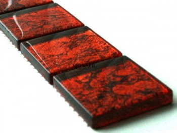 Glass Mosaic Border Red Metal