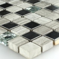 Mosaic Tiles Glass Stainless Steel Grey 15x15x8mm