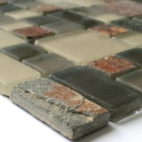 SAMPLE Glass Slate Natural Stone Mosaic Multicolor 3 Mix Format
