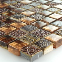 Mosaic Tiles Glass Marble Brown Gold Mix 15x15x8mm
