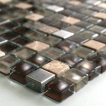 Mosaic Tiles Glass Marble Stainless Steel Brown Mix
