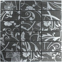 Mosaic Tiles Teros Ornament Flower Dark Grey