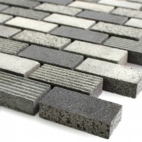 Mosaic Tiles Natural Stone Notte Anthracite 15x30x8mm