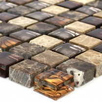 Mosaic Tiles Glass Natural Stone Beige Brown 15x15x8mm
