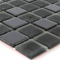 Mosaic Tiles Glass Self Adhesive Black Uni