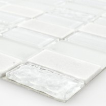 Self Adhesive Mosaic Natural Stone Glass Mix White Polished
