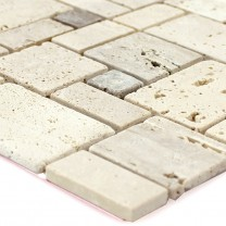 Self Adhesive Travertine Natural Stone Mosaic Beige