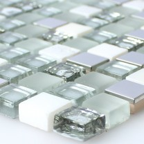 Mosaic Tiles Glass Stainless Steel Natural Stone White Silver