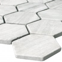 Mosaic Tiles Marble Tarsus Hexagon Grey