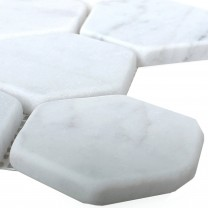 Mosaic Tiles Marble Wutach Hexagon White Carrara