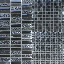Mosaic Tiles Helsinki Black Fluted