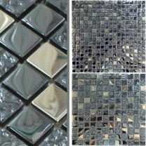 Mosaic Tiles Glass Metal Mix Whitney Silver Black