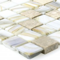 Glass Nacre Natural Stone Mosaic Tiles Fokus Beige
