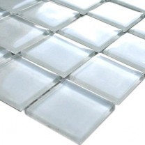 Mosaic Tiles Glass White Uni 25x25x4mm