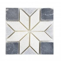 Natural Stone Rosone Carolina Black White Grey 10x10cm