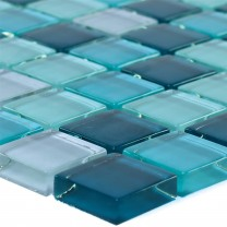 Glass Mosaic Tiles Palikir Blue Green Mix