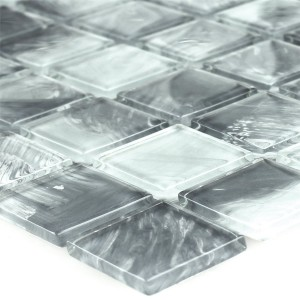 Mosaic Tiles Glass Grey Marbled 25x25x4mm