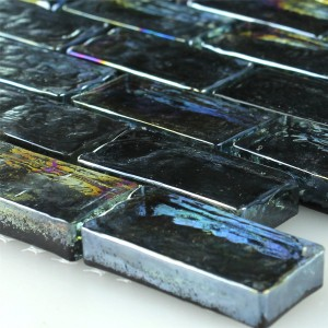 Mosaic Tiles Glass Effect Petrol Black 20x42x8mm