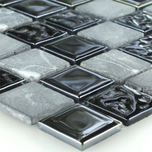 SAMPLE Mosaic Tiles Glass Marble Black Grey