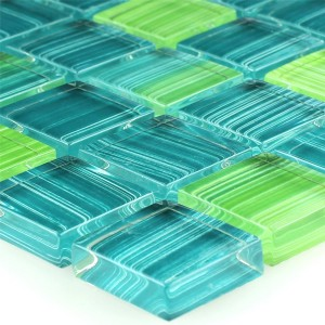 Striped Crystal Mosaic Tiles Glass Green