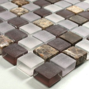 Mosaic Tiles Glass Marble 15x15x8mm Purple Mix