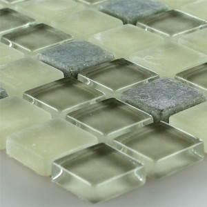 Mosaic Tiles Glass Marble Green Mix 15x15x5mm
