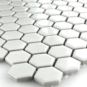 Mosaic Tiles Ceramic Hexagon White Glossy 23x23x4mm