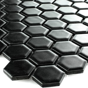 Mosaic Tiles Ceramic Hexagon Black Mat 23x23x4mm