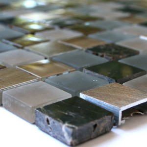 Mosaic Tiles Glass Marble Aluminium Brown Copper