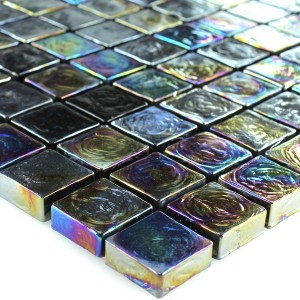 SAMPLE Mosaic Tiles Glass Effect Petrol Black