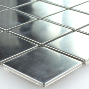 SAMPLE Mosaic Tiles Stainless Steel Metal Silver 48x48x7mm