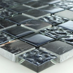 Mosaic Tiles Glass Marble Black Fluted 25x25x8mm