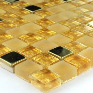 Mosaic Tiles Glass Stainless Steel Gold