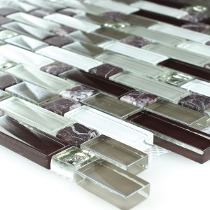 Mosaic Tiles Glass Marble Purple Brown 3 Mix Format