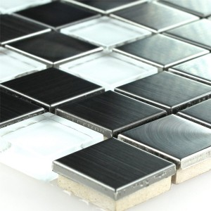 Mosaic Tiles Stainless Steel Glass White Silver