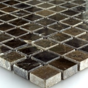 Mosaic Tiles Marble Brown Polished 15x15x7.5mm