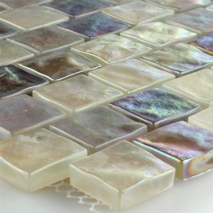 SAMPLE Mosaic Tiles Glass Nacre Effect Creme